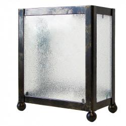 Aplique de pared, estructura metálica en varios acabados, 1 luz, 3 caras con cristales traslucidos.
