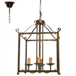 Lámpara de techo farol, de forja, estructura metálica en varios acabados, 4 luces con vela, con cristal transparente.
