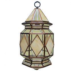 Lámpara de techo farol, estilo granadino, armazón metálico en acabado dorado, 1 luz, con cristal opalina.