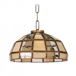 Lámpara de techo colgante, estilo granadino, armazón metálico en acabado oro viejo o negro,1 luz, con difusor en cristal.