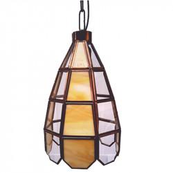 Lámpara de techo farol, estilo granadino, Serie Campanita, armazón metálico en acabado dorado, 1 luz, con difusor de cristales.