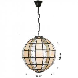 Lámpara de techo colgante, estilo granadino, en acabado marrón, con cristal opalina y gótico, tipo bola Ø 30 cm.