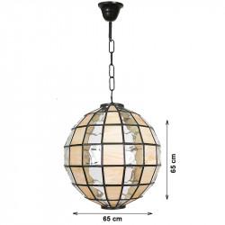 Lámpara de techo colgante, estilo granadino, en acabado marrón, con cristal opalina y gótico, tipo bola Ø 65 cm.