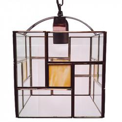 Lámpara de techo farol, estilo granadino, Serie Madrid, armazón metálico en acabado dorado, 1 luz, con cristales opalina.
