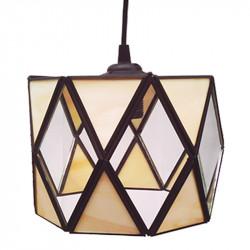 Lámpara de techo farol, estilo granadino, Serie Tamboril, armazón metálico en acabado negro, 1 luz, con difusor de cristales.