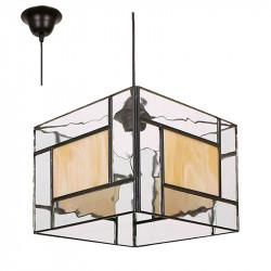Lámpara de techo colgante, estilo granadino, armazón metálico en acabado negro, 1 luz, con difusor cuadrado.