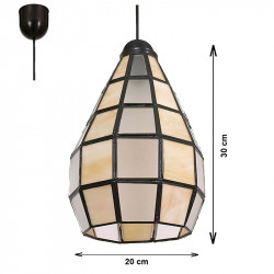 Lámpara de techo colgante, estilo granadino, Serie Campana, armazón metálico en acabado negro, 1 luz, con cristal opalina.