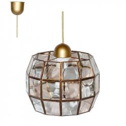 Lámpara de techo colgante, estilo granadino, armazón metálico en acabado dorado, 1 luz, con difusor de cristales.