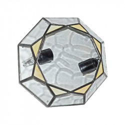 Plafón granadino, armazón metálico en acabado negro, 2 luces, con difusor de cristal opalina y gótico, Ø 22cm.