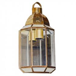 Aplique de pared granadino, armazón metálico en acabado dorado, 1 luz, con cristal opalina y transparente.