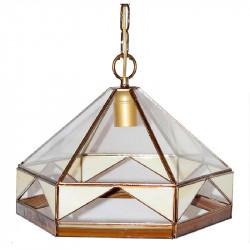 Lámpara de techo colgante, estilo granadino, armazón metálico en acabado dorado, 1 luz, con difusor Ø 27 cm.