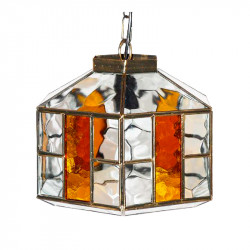 Lámpara de techo colgante, estilo granadino, armazón metálico en acabado oro viejo, 1 luz, con difusor Ø 32 cm