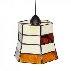 Lámpara de techo colgante, estilo granadino, armazón metálico en acabado negro, 1 luz, con difusor Ø 24 cm.
