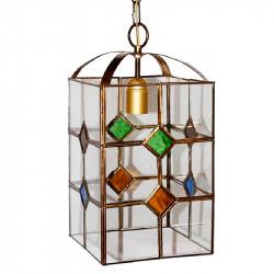 Lámpara de techo farol granadino, armazón metálico en acabado dorado, 1 luz, con difusor 15x15 cm.
