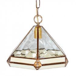 Lámpara de techo colgante, estilo granadino, armazón metálico en acabado dorado, 1 luz, con difusor Ø 32 cm.