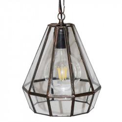 Lámpara de techo colgante, estilo granadino, armazón metálico en acabado negro, 1 luz, con difusor Ø 19 cm.