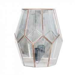 Aplique de pared, estilo granadino, armazón metálico en acabado dorado, 1 luz, fondo de espejo, con difusor de cristales.
