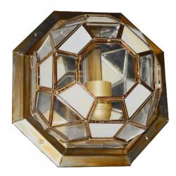Lámpara de techo plafón granadino, armazón metálico en acabado dorado, 1 luz, con difusor de cristales transparentes.