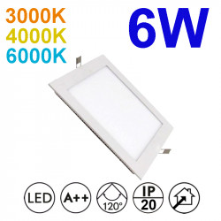 Downlight LED empotrable cuadrado, estructura de aluminio en acabado blanco, 6W 450lm 3.000K, 4.000K o 6.000K.