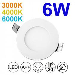 Downlight LED empotrable redondo, estructura de aluminio en acabado blanco, 6W 450lm 3.000K, 4.000K o 6.000K, 160º de apertura.
