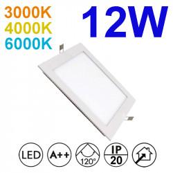 Downlight LED empotrable cuadrado, estructura de aluminio en acabado blanco, 12W 950lm 3.000K, 4.000K o 6.000K, 160º de apertura