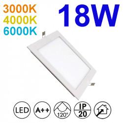 Downlight LED empotrable cuadrado, estructura de aluminio en acabado blanco, 18W 1.550lm 3.000K, 4.000K o 6.000K, 160º