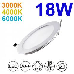 Downlight LED empotrable redondo, estructura de aluminio en acabado blanco, 18W 1.550lm 3.000K, 4.000K o 6.000K, 160º