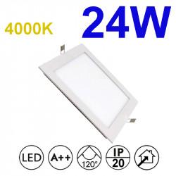 Downlight LED empotrable cuadrado, estructura de aluminio en acabado blanco, 24W 2.280lm 4.000K, 160º de apertura.