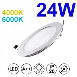 Downlight LED empotrable redondo, estructura de aluminio en acabado blanco, 24W 2.280lm 4.000K o 6.000K, 160º de apertura.