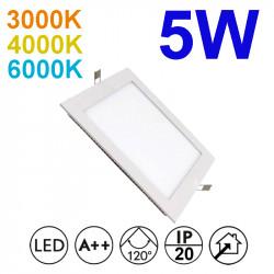 Downlight LED empotrable cuadrado, estructura de aluminio en acabado blanco, 5W 375lm 3.000K, 4.000K o 6.000K, 160º