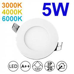 Downlight LED empotrable redondo, estructura de aluminio en acabado blanco, 5W 375lm 3.000K, 4.000K o 6.000K, 160º