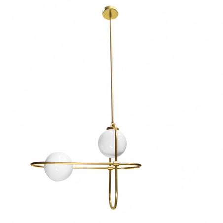 Lámpara de techo, estructura de latón en acabado satinado, 2 luces, con bola de cristal Ø 16 cm, en acabado blanco opal.
