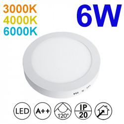 Plafón redondo LED, armazón de aluminio en acabado blanco, con difusor acrílico, 6W 450lm 3.000K, 4.000K o 6.000K, 120º