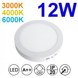 Plafón redondo LED, armazón de aluminio en acabado blanco, con difusor acrílico, 12W 950lm 3.000K, 4.000K o 6.000K, 120º