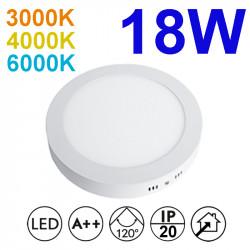 Plafón redondo LED, armazón de aluminio en acabado blanco, con difusor acrílico, 18W 1.750lm 3.000K, 4.000K o 6.000K, 120º