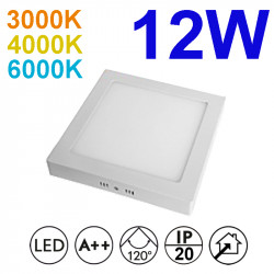 Plafón cuadrado LED, armazón de aluminio en acabado blanco, con difusor acrílico, 12W 950lm 3.000K, 4.000K o 6.000K, 120º