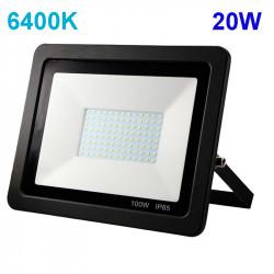 Proyector exterior LED, armazón de aluminio en acabado negro y cristal, 20W 2.800lm 6.400K, 120º de apertura. IP65.