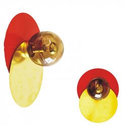 Aplique de pared, armazón metálico, disco en acabado rojo, más disco de latón en acabado satinado, 1 luz, con difusor en bola