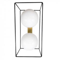 Aplique de pared, Serie Cubos, estructura metálica en acabado negro, con elementos en acabado dorado, 2 luces