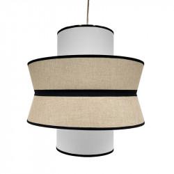 Lámpara de techo, Serie Toledo, con pendel en acabado blanco, 1 luz, con pantalla triple Ø 40 cm, en acabado lino blanco.