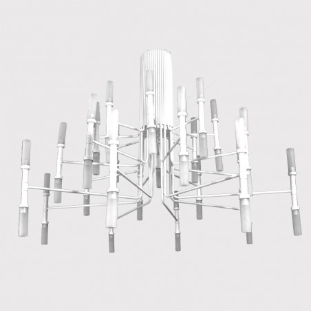 Lámpara de techo, armazón metálico en acabado blanco, 48 luces, con tulipa de cristal en acabado ácido mate.