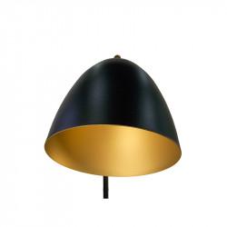 Lámpara Pie de Salón, armazón metálico en acabado negro con elementos de latón, 1 luz, con brazo articulado