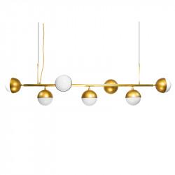Lámpara de techo, estructura de latón en acabado satinado, 7 luces, con bolas de cristal Ø 16 cm, en acabado opal blanco