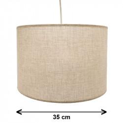 Lámpara de techo colgante, 1 luz, con pantalla cilíndrica Ø 35 cm en tela varios acabados.