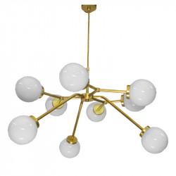 Lámpara de techo, armazón de latón en acabado satinado, 9 luces, con bolas de cristal Ø 14cm, en acabado blanco opal.