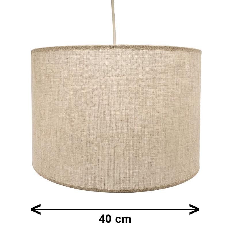 Lámpara de techo colgante, 1 luz, con pantalla cilíndrica Ø 40 cm, en telas con varios acabados.