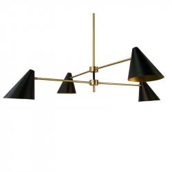 Lámpara de techo, estructura de latón en acabado satinado, 4 luces, con difusores metálicos