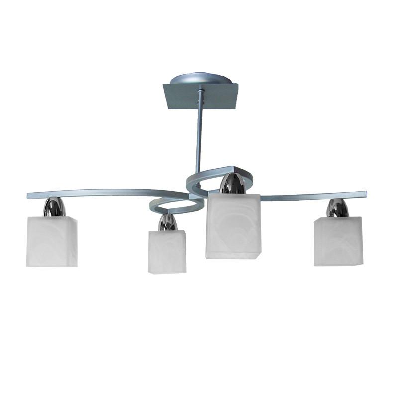 Lámpara de techo, estilo moderno, metal en acabado plata y cromo, 4 luces, con tulipas de cristal.