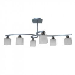 Lámpara de techo, estilo moderno, metal en acabado plata y cromo, 6 luces, con tulipas de cristal.