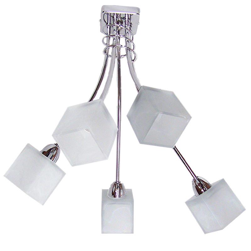 Lámpara de techo, estructura metálica en acabado cromo brillo, 5 luces con tulipas de cristal.